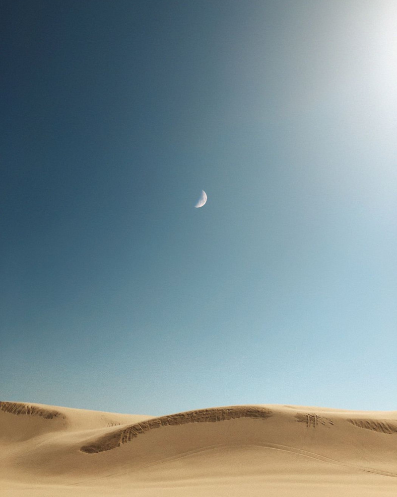 The moon above the desert